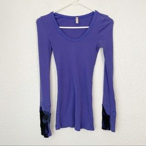 Free People Long Sleeve Purple Thermal Small
